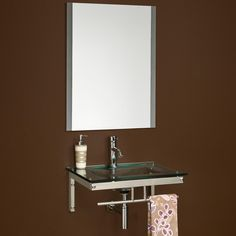 Benton Wall-Mount Glass Sink with Mirror