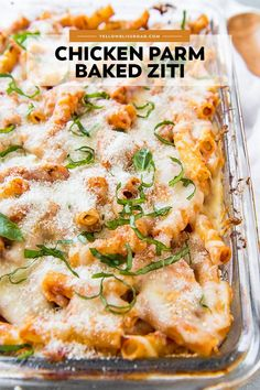 This Chicken Parmesan Baked Ziti is a quick and easy meal to whip up on a busy weeknight, and still classy enough for Sunday dinner. dinner with boyfriend Chicken Parmesan Baked Ziti Easy Baked Ziti, Baked Ziti Chicken, Chicken Pasta Bake, Chicken Parmesan Casserole, Parmesan Pasta, Parmesan Recipes, Crispy Chicken, Rotisserie Chicken, Easy Weeknight Meals