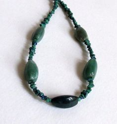 Agate Necklace with Azurite Malachite and Sterling by Smokeylady54