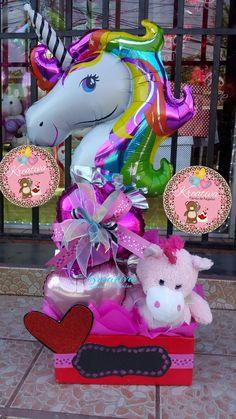 💖La Dama L.a💖 ✿◕‿◕✿ Balloon Arrangements, Balloon Centerpieces, Balloon Decorations, Unicorn Birthday Parties, Birthday Balloons, Unicorn Party, Candy Bouquet, Balloon Bouquet, Baby Shower Wall Decor