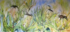 #Proteas#WesternCape#Flowers 'Voices in Harmony' Oil on canvas painted by Ellie Eburne