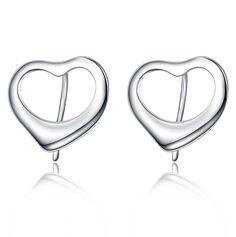 Simple Peach Heart 925 Sterling Silver Stud Earring