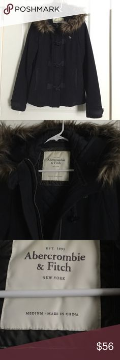 Abercrombie & Fitch winter wool coat navy blue M Pre loved heavy wool jacket, great for the winter. Really warm. In good condition. Abercrombie & Fitch Jackets & Coats Pea Coats