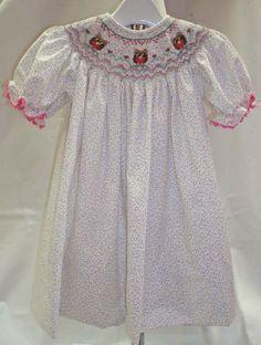 Ready for spring in a picture smocked Ellen McCarn bishop dress.