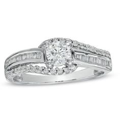W Chester Bypass CT. T.W. Enhanced Blue and White Diamond Engagement Ring in 10K ...
