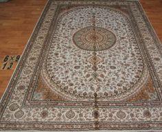 6'x9' Handmade Hand-knotted 200 kpsi Silk Oriental Persian Tabriz Rug 203
