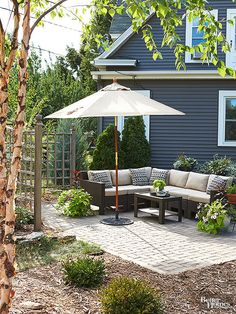 To eliminate wasted space behind furnishings, place patio seating in a corner, along the perimeter.