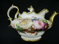A beautiful large Victorian period teapot Approx 6 1 4 tall and 10 1 2 across Inc spout and handle Hand painted with various flower species and with Vintage Tee, Vintage China, Tea Cup Saucer, Tea Cups, Victorian Teapots, China Teapot, Teapots Unique, Fun Cup, Teapots And Cups