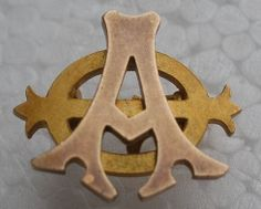 "Alpha Phi Badge - 1880 - Alpha Chapter (Syracuse) -  Alice Jeffres Moule. A plain gold ""lazy phi"" style Alpha Phi badge."
