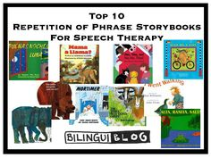 Repetition of Phrase stories are great books for speech therapy because: Familiarity and predictability guide children to develop increased understanding and comprehension of material, which is why children will often beg us to re-read a book or continue with a familiar series – great for building vocabulary and helps us support academic skills at the same time!
