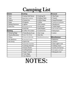First Camping List!