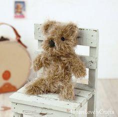 Japanese Needle Wool Felt DIY Kit - Kawaii Brown Teddy Bear, Hamanaka Wool Felt Kit, Felt Animal Doll, Easy Felting Tutorial, JapanLovelyCrafts