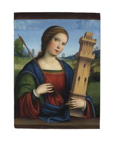 Francesco Francia (Bologna c. Saint Barbara, Italian Art, 15th Century, Bologna, Painting & Drawing, Renaissance, Medieval, Mona Lisa, Saints