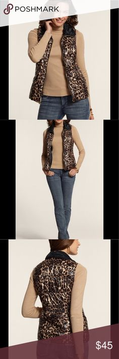 🌹NEW Chico's Leopard Puffer Vest🌹 🌹elastic insert at back waist streamlines the silhouette🌹super Soft 100%polyester shell and 100% nylon lining🌹two front pockets snap closed🌹24.5 inches long🌹see last picture for sizing info🌹 Chico's Jackets & Coats Vests