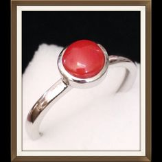 Mediterranean Coral, Sterling 1.2 Cts. NEW Genuine Mediterranean Coral, round cut cabochon. Ring is in .925 Platinum Overlay Sterling Silver Nickel Free (Size 8) TGW 1.2 Cts. Beautiful color and setting. Jewelry