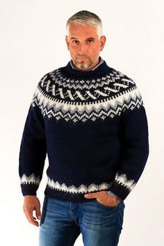Icelandic sweaters and products - Traditional Wool Pullover Blue Wool Sweaters - NordicStore Hand Knitted Sweaters, Blue Sweaters, Wool Sweaters, Sweaters For Women, Sweater Shop, Men Sweater, Icelandic Sweaters, Sweater Design, Knitting Designs
