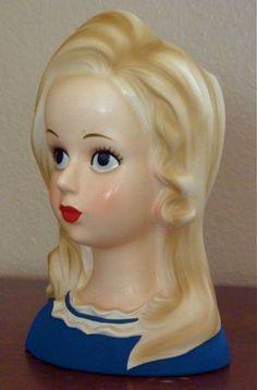 TEEN 7 Inch Blonde VINTAGE Lady Head Vase by grandmatilliesbakery