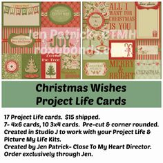 Studio J Project Life Card Sets- Christmas Wishes Order exclusively through Jen Patrick