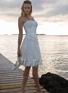 A-Linie/Princess-Linie Trägerlos Knielang Spitze Reißverschluss Trägerlos Ärmellos Strand Saal Hochzeitsfeier Übliche Nein Frühling Sommer Weiß Weiß Brautkleid