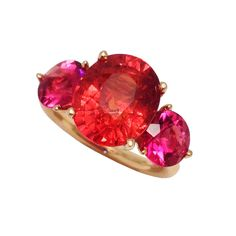 One-of-kind Jane Taylor ring with spessartite garnet and rubellite tourmaline in 18K yellow gold