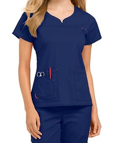 Med Couture Lexi Notch Neck Scrub Tops - Black/Raspberry - Treat yourself to the… Scrubs Outfit, Scrubs Uniform, Work Uniforms, Medical Uniforms, Beauty Uniforms, Uniform Design, Medical Scrubs, Nursing Clothes, Blazer Fashion