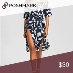Summers leaf print Sexy high slit dress ✨ Product Description: This beautiful dress features leaves print in purplish blue,white,paired with mid-calf length.The bodice is featuring a off the shoulder top with half sleeves. The material is lightweight and soft. The printed dress also has a overlapping skirt and a tie at the waist, paired with sexy high split.  Style: Casual  Material: Cotton,Polyester  Silhouette: Asymmetrical  Dresses Length: Mid-Calf  Neckline: Off The Shoulder  Sleeve…