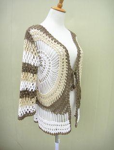 Tie Front Cardigan Sweater Crochet Mandala by TinaCrochet2016