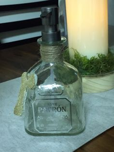 Patron Bottle Soap Dispenser.  Super easy to make with a little bit of patience when working with the cork.