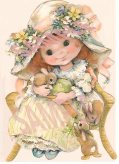 Vintage Girl with Bunny   Download, printable, digital on Etsy, $2.00