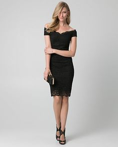 Lace Off-the-Shoulder Shift Dress - An elegant off-the-shoulder neckline defines a stunning lace shift dress styled with scalloped edges for a romantic finish.