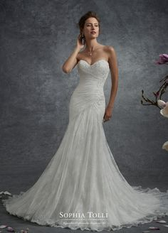 Mon Cheri Bridal offers wedding dress collections from designers like Martin Thornburg, Sophia Tolli, & more. Find your perfect fit and flare wedding dress! Drop Waist Wedding Dress, Fit And Flare Wedding Dress, Sweetheart Wedding Dress, Dream Wedding Dresses, Bridal Dresses, Wedding Gowns, 2017 Wedding, 2017 Bridal, Mermaid Sweetheart
