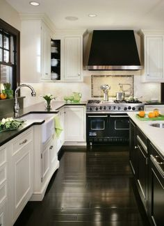 A white and black kitchen