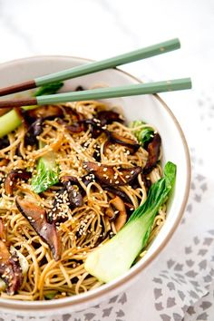 Shiitake Bok Choy Noodle Bowl- gluten free, vegan and oh so tasty!