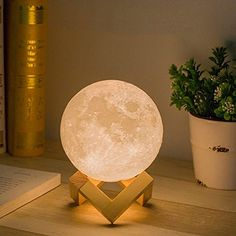 Aissimio Night Light 3D Printing Moon Lamp, Rechargeable Night Light Dimmable Touch Control Brightness Three Tone with Wooden Stand for Baby Home Decorative,Diameter 5.9 inch -- Continue to the product at the image link. (This is an affiliate link) #HomeDcor