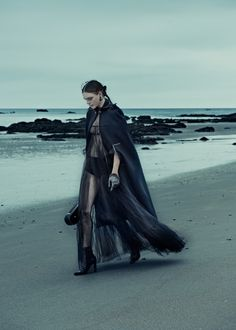 Kim Noorda wearing gothic glam looks stars in ELLE Germany Magazine December 2015 issue Photoshoot