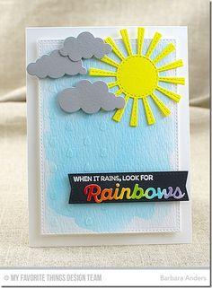 Rainbow of Happiness, Blueprints 20 Die-namics, Color the Rainbow Die-namics, Puffy Clouds Die-namics, Sunny Skies Die-namics, Raindrops Stencil - Barbara Anders   #mftstamps