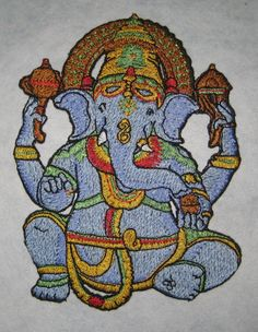 Cielo azul Lord Ganesha hierro en parche por SpiderStitchesParlor