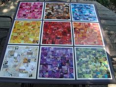 Rainbow Collage Table Tiles- use this idea to preserve kids art! Idea: use tiles for backsplash in kids bathroom Auction Projects, Art Projects, Collage Magazine, Paper Art, Paper Crafts, Wooden Crafts, Magazine Crafts, Elements And Principles, Ecole Art