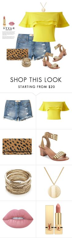 """""""Summer Brights"""" by dalba77 ❤ liked on Polyvore featuring Hollister Co., Miss Selfridge, Clare V., Ash, Sole Society, Jules Smith, Lime Crime, Yves Saint Laurent, summerstyle and offtheshoulder"""