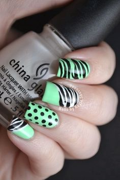 Mix and Match Zebra and Polka Dot Nail Art - Cute way do your nails for summer funn! Get Nails, Fancy Nails, Hair And Nails, Fabulous Nails, Gorgeous Nails, Pretty Nails, Dot Nail Art, Polka Dot Nails, Zebra Nails