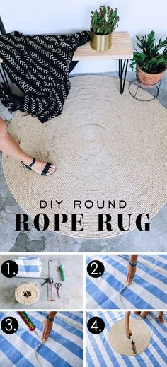 Handmade Home Decor Diy Home Decor Easy, Handmade Home Decor, Cheap Home Decor, Diy Decorations Easy, Easy Diy Interior, Diy Home Interior Projects, Diy Crafts Home, Rope Rug, Ideias Diy