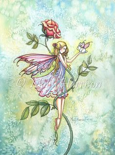 Rose's Friend Fairy and Tiny Bunny Fantasy by MollyHarrisonArt