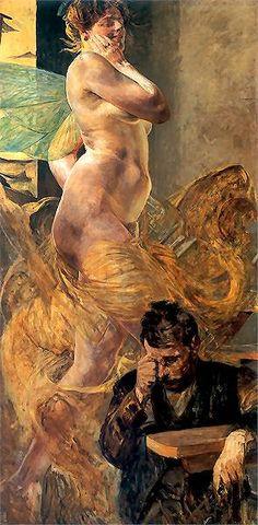 """Wizja"" - Jacek Malczewski (Polish, oil on canvas {figurative symbolist art discreet nude female with insect wings floating over bearded man painting Ancient Art, Figure Painting, Erotic Art, Figurative Art, Art History, Modern Art, Art Gallery, Illustration Art, Fine Art"