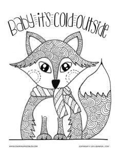 Fox Coloring Page For Adults Holiday And Winter Pages Stress Pain Relief