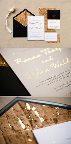 The Renae invitation suite from @engagingpapers is amazing! This invite is backed in cork with gold foil specs! The envelope lined in the same cork paper will definitely impress your guests. The black outer and RSVP envelopes with gold foil ink add another amazing element