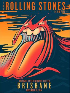 Poster design for the Rolling Stones Brisbane show by Arian Buhler Logo Rolling Stones, Rock Posters, Band Posters, Vintage Concert Posters, Vintage Posters, Rock And Roll, Concert Rock, Illustration Photo, Festival Posters