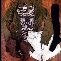 army green jacket- Luna. Eyelash nee-high socks- Aropostale. Top- H.M.  Distressed acid wash shorts. Boots- Steve Madden