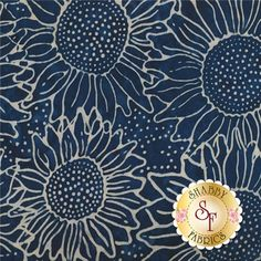 Botanica FB002-94 Dark Navy by Fresh Batiks for Clothworks Fabric: Botanica is a batik collection by Fresh Batiks for Clothworks Fabrics. This batik fabric features allover cream sunflowers on a mottled navy blue background.