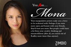 I took Zimbio's 'Pretty Little Liars' personality quiz and I'm Mona ! Who are you? #ZimbioQuiznull - Quiz