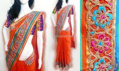 Orange cotton saree CODE: SD097 PRICE: Rs.2920 SAREE: Orange cotton saree with self borders on the edges and a zari cutwork border. Pallu has a multicoloured benaras brocade border on the edge. BLOUSE: Multicoloured benaras brocade material